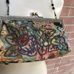 Bags - Bead Strap Embellished Tapestry Kiss Lock Purse
